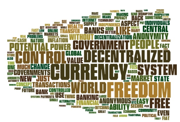 "According to the survery published by Zerohedge.com (in bibliography), these are the most used words in descriptions of ""favourite aspects of Bitcoin"""
