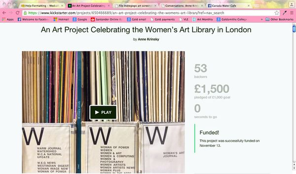 Screenshot of Anne Krinsky's Kickstarter page