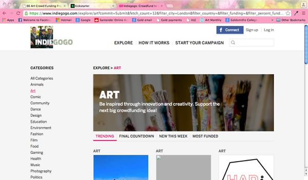 Screenshot of Indiegogo explore page