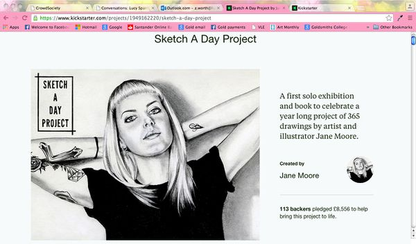 Screenshot of Jane Moore's Kickstarter page