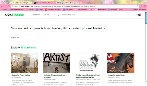 Screenshot of Kickstarter discover page